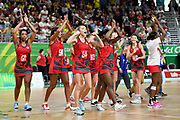 11th April 2018, Gold Coast Convention and Exhibition Centre, Gold Coast, Australia; Commonwealth Games day 7; Netball, England versus New Zealand; Helen Housby of England leads the celebrations after a historic win against New Zealand