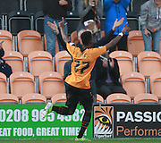 Barnet striker Josh Clarke celebrates his second goal during the Sky Bet League 2 match between Barnet and Exeter City at The Hive Stadium, London, England on 31 October 2015. Photo by Bennett Dean.
