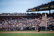 San Francisco Giants left fielder Brandon Belt (9) bats against the Los Angeles Dodgers at AT&T Park in San Francisco, California, on April 27, 2017. (Stan Olszewski/Special to S.F. Examiner)