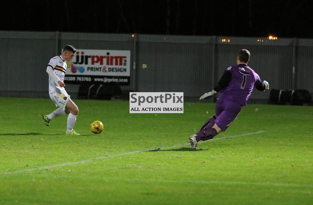 Callum Waters scores for Dumbarton  during the Dumbarton v Alloa  Scottish Cup  8 December 2015 <br /> <br /> (c) Andy Scott | SportPix.org.uk