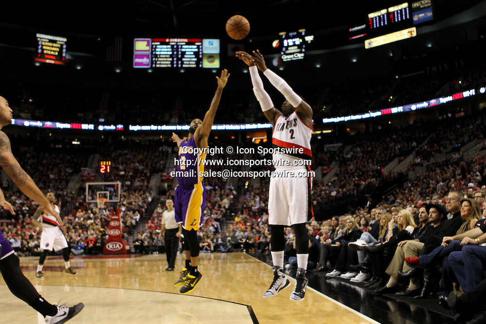 Feb. 11, 2015 - WESLEY MATTHEWS (2) shoots a three-poiter. The Portland Trail Blazers play the Los Angeles Lakers at the Moda Center on February 11, 2015