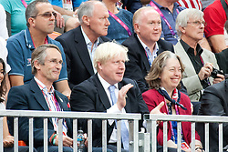 © London News Pictures. 05/09/2012. Olympic Park, Stratford, London, UK. The Mayor of London - Boris Johnson - enjoying the opening match between ParalympicsGB and USA in the wheelchair rugby. ParalympicsGB lost 56-44 to the current world champions USA. Photo credit should read Manu Palomeque/LNP