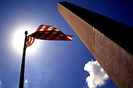 A 28.9 MG FILE FROM FILM OF:..A flag and the Washington Monument. Photo by Dennis Brack