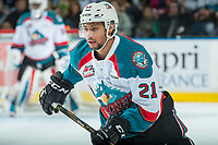 KELOWNA, CANADA - APRIL 25: Devante Stephens #21 of the Kelowna Rockets skates against the Seattle Thunderbirds on April 25, 2017 at Prospera Place in Kelowna, British Columbia, Canada.  (Photo by Marissa Baecker/Shoot the Breeze)  *** Local Caption ***