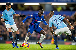 December 8, 2018 - London, Greater London, England - Ngolo Kanté of Chelsea challenges the ball with Fernandinho of Manchester City during the Premier League match between Chelsea and Manchester City at Stamford Bridge, London, England on 8 December 2018. (Credit Image: © AFP7 via ZUMA Wire)