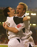 Photo: Aidan Ellis.<br /> Sheffield United v Swansea City. The FA Cup. 06/01/2007.<br /> Swansea's 1st goal scorerThomas Butler celebrates scoring with Rory Fallon