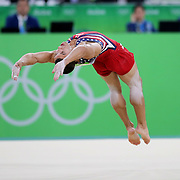 Gymnastics - Olympics: Day 3   Jacob Dalton #193 of the United States performing his Floor Exercise routine during the Artistic Gymnastics Men's Team Final at the Rio Olympic Arena on August 8, 2016 in Rio de Janeiro, Brazil. (Photo by Tim Clayton/Corbis via Getty Images)