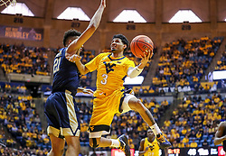 Dec 8, 2018; Morgantown, WV, USA; West Virginia Mountaineers guard James Bolden (3) shoots in the lane during the second half against the Pittsburgh Panthers at WVU Coliseum. Mandatory Credit: Ben Queen-USA TODAY Sports