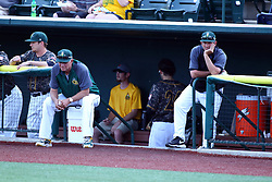 03 June 2016: Brooks Carey sitting on bucket during a Frontier League Baseball game between the Windy City Thunderbolts and the Normal CornBelters at Corn Crib Stadium on the campus of Heartland Community College in Normal Illinois
