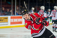 KELOWNA, CANADA - MARCH 2:  Joachim Blichfeld #20 of the Portland Winterhawks warms up against the Kelowna Rockets on March 2, 2019 at Prospera Place in Kelowna, British Columbia, Canada.  (Photo by Marissa Baecker/Shoot the Breeze)