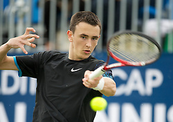 LIVERPOOL, ENGLAND - Thursday, June 16, 2011: Harry Meehan (GBR) in action during day one of the Liverpool International Tennis Tournament at Calderstones Park. (Pic by David Rawcliffe/Propaganda)