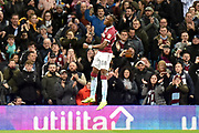 Aston Villa striker(on loan from Chelsea) Tammy Abraham (18) scores a goal and celebrates  3-3 Pen (Hat trick) during the EFL Sky Bet Championship match between Aston Villa and Nottingham Forest at Villa Park, Birmingham, England on 28 November 2018.