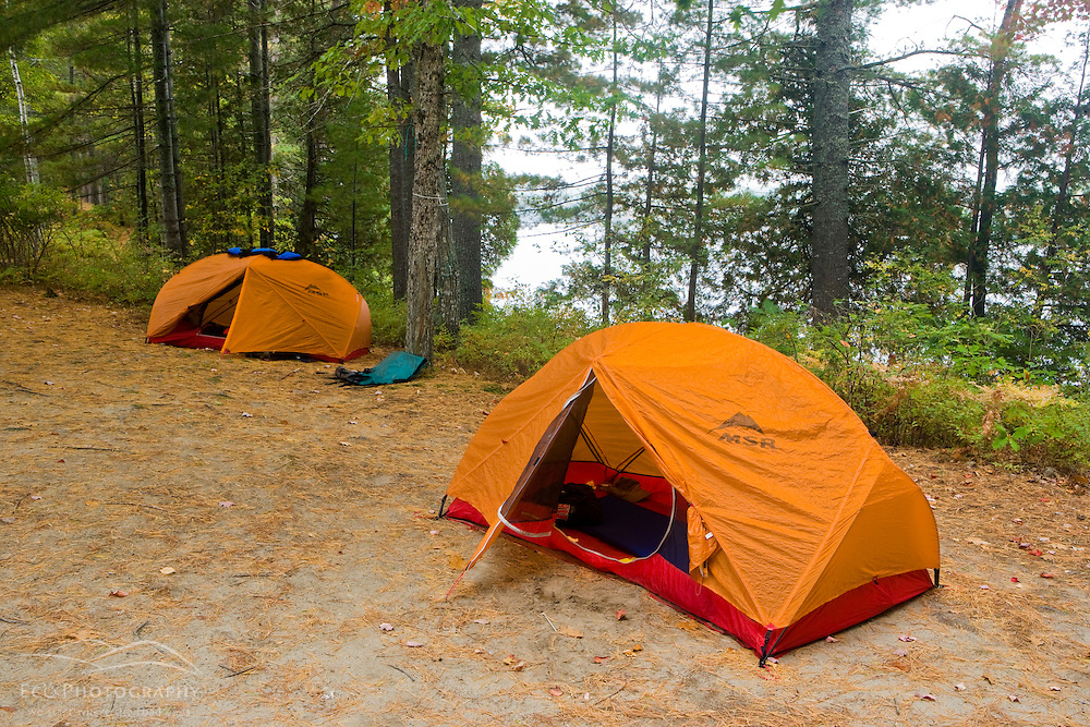 Tents at a campsite on Hammer Island in Seboeis Lake near Millincoket, Maine.