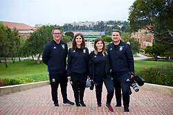 LOS ANGELES, USA - Wednesday, May 23, 2018: Wales' Rob Dowling, media officer Sara Pennant, Holly and Nathan Williams during a training session at UCLA ahead of the International friendly match against Mexico. (Pic by David Rawcliffe/Propaganda)