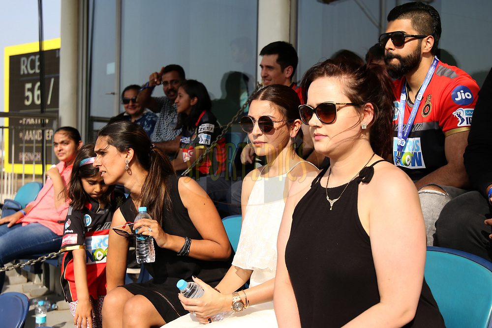 Anushka Sharma at RCB vip enclosure with others during match thirty five of the Vivo Indian Premier League 2018 (IPL 2018) between the Chennai Super Kings and the RCB  held at the Maharashtra Cricket Association Cricket Stadium, Pune on the 5th May 2018.<br /> <br /> Photo by Saikat Das /SPORTZPICS for BCCI