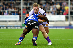 Billy Keast of Exeter Chiefs is tackled by Levi Davis of Bath Rugby - Mandatory by-line: Ryan Hiscott/JMP - 21/09/2019 - RUGBY - Sandy Park - Exeter, England - Exeter Chiefs v Bath Rugby - Premiership Rugby Cup