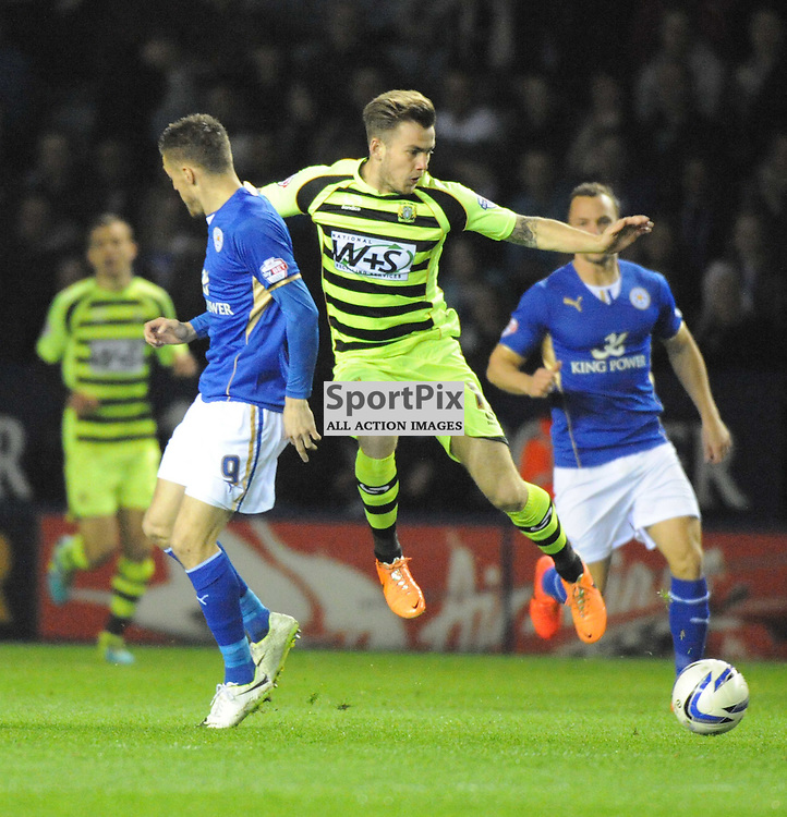 Yeovils Joe Ralls attacks Leicesters Dfence, Leicester City v Yeovil Sky Bet Championship Tuesday 25th March 2014