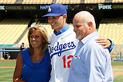 LOS ANGELES, CA - JUNE 30:  First round draft pick Corey Seager #12 of the Los Angeles Dodgers poses for a photo before the game against the New York Mets on Saturday, June 30, 2012 at Dodger Stadium in Los Angeles, California. The Mets won the game in a 5-0 shutout. (Photo by Paul Spinelli/MLB Photos via Getty Images) *** Local Caption *** Corey Seager