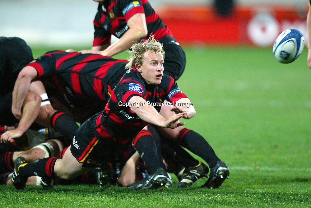 13 August 2004, Westpac Stadium, Wellington, <br /> New Zealand, Rugby Union, NPC Div 1<br /> Wellington Lions vs Canterbury<br /> Canterbury's Ben Hurst passes out the scrum ball during Wellington's 34-22 win over Canterbury on Friday night.<br /> Please Credit: Marty Melville/Photosport