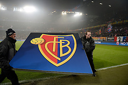 06.12.2016, St. Jakob Park, Basel, SUI, UEFA CL, FC Basel vs FC Arsenal, Gruppe A, im Bild Mitarbeiter tragen das Basellogo vom Feld // during the UEFA Champions League group A match between FC Basel and FC Arsenal at the St. Jakob Park in Basel, Switzerland on 2016/12/06. EXPA Pictures © 2016, PhotoCredit: EXPA/ Freshfocus/ Daniela Frutiger<br /> <br /> *****ATTENTION - for AUT, SLO, CRO, SRB, BIH, MAZ, ITA only*****