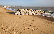 Coastal defences on the North Sea coast in East Anglia at Felixstowe, Suffolk, England