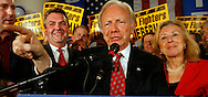 U.S. Senator Joe Lieberman (D-CT) celebrates his victory in the U.S Midterm Elections in Hartford, Connecticut November 7, 2006.  REUTERS/Andrew Gombert  (UNITED STATES)<br />