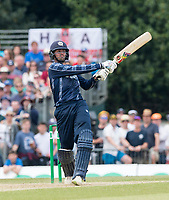 EDINBURGH, SCOTLAND - JUNE 10: 6 runs for Scotland's Calum MacLeod on his way to a fantastic 140 not out in the first innings of the one-off ODI at the Grange Cricket Club on June 10, 2018 in Edinburgh, Scotland. (Photo by MB Media/Getty Images)
