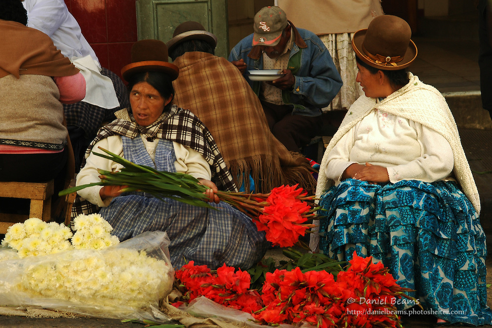 Market and street scene in La Paz, Bolivia