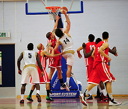 Essex Leopards' Greg Hernandez shoots - Photo mandatory by-line: Dougie Allward/JMP - Tel: Mobile: 07966 386802 23/03/2013 - SPORT - Basketball - WISE Basketball Arena - SGS College - Bristol -  Bristol Academy Flyers V Essex Leopards