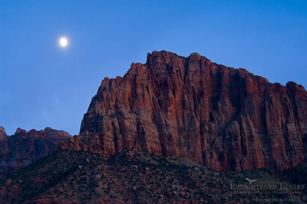 Moonrise in evening light over the cliffs of Johnson Mountain, Springdale, near Zion National Park, Utah