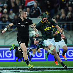 Warren Whitely chases TJ Perenara during the Rugby Championship match between the New Zealand All Blacks and South Africa Springboks at Westpac Stadium in Wellington, New Zealand on Saturday, 15 September 2018. Photo: Dave Lintott / lintottphoto.co.nz