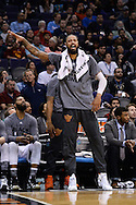 Feb 8, 2016; Phoenix, AZ, USA; Phoenix Suns center Tyson Chandler (4) reacts from the bench in the game against the Oklahoma City Thunder at Talking Stick Resort Arena.  The Oklahoma City Thunder won 122- 106.  Mandatory Credit: Jennifer Stewart-USA TODAY Sports