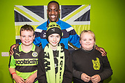 Forest Green Rovers Isaiah Osbourne(34) with ambassadors during the EFL Sky Bet League 2 match between Forest Green Rovers and Crawley Town at the New Lawn, Forest Green, United Kingdom on 24 February 2018. Picture by Shane Healey.
