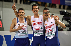 Norway's Jakob Ingebrigtsen (centre), Great Britain's Chris O'Hare (left), and Norway's Henrik Ingebrigtsen celebrate their wins during the Men's 3000m final during day two of the European Indoor Athletics Championships at the Emirates Arena, Glasgow.
