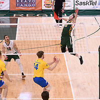 4th year outside hitter Brennan Goski (13) of the Regina Cougars in action during Men's Volleyball home game on February 2 at Centre for Kinesiology, Health and Sport. Credit: Arthur Ward/Arthur Images