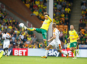 Norwich City's James Maddison and Hull City's Sebastian Larsson during the EFL Sky Bet Championship match between Norwich City and Hull City at Carrow Road, Norwich, England on 14 October 2017. Photo by John Marsh.
