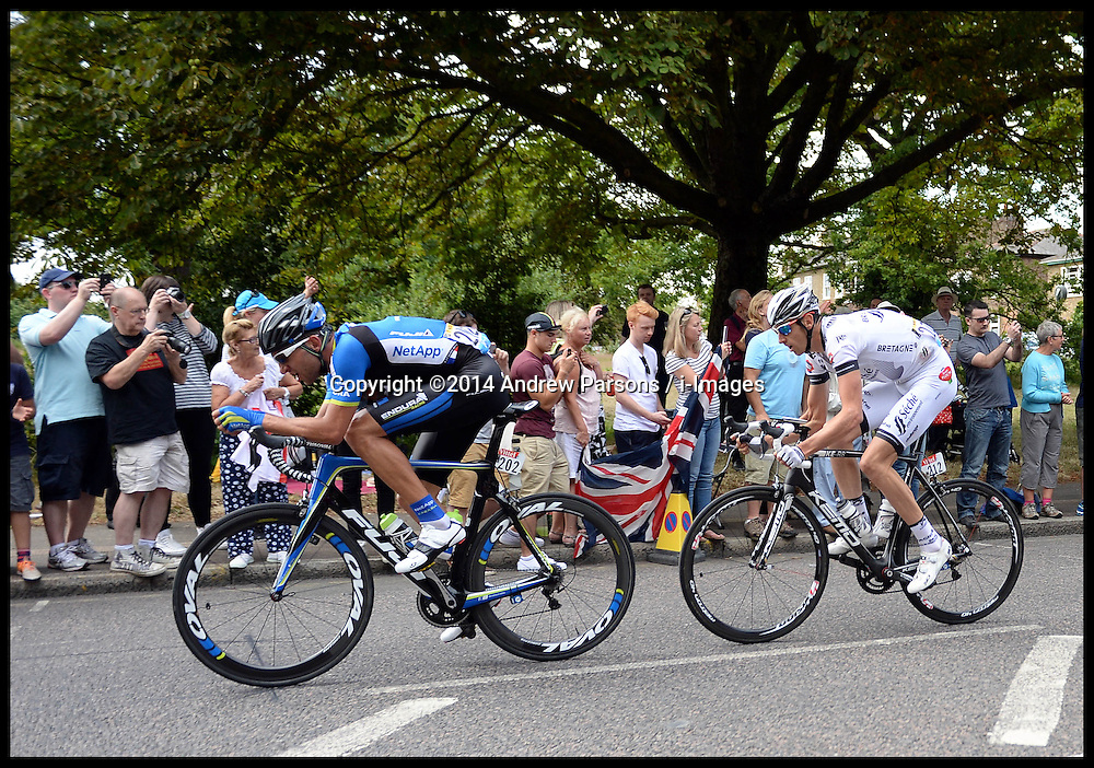 Image ©Licensed to i-Images Picture Agency. 07/07/2014. London, United Kingdom. Lead riders Jan Barta and Jean-Marc Bideau  pass through Woodford Green in London on their way to the Mall on stage 3 of the final UK leg of Tour de France . Picture by Andrew Parsons / i-Images