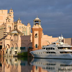 A 150 ft. Mega yacht docked at the atmospheric marina of Atlantis Resort in Paradise Island, Bahamas.
