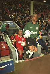 Liverpool, England - Wednesday, November 27th, 1996: Liverpool's goalkeeper David James in action during the 4-2 victory over Arsenal during the 4th Round of the League Cup at Anfield. (Pic by David Rawcliffe/Propaganda)