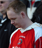 Photo: Tony Oudot.<br />Watford v Charlton Athletic. The Barclays Premiership. 03/03/2007.<br />A Charlton fan looks dejected