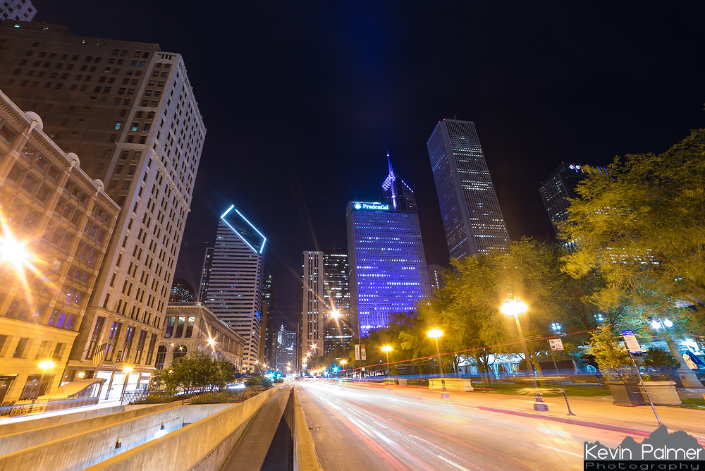 Passing traffic shows up as red and white streaks in this long exposure <br />