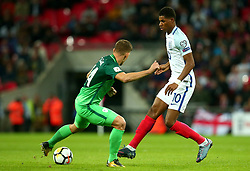 Marcus Rashford of England passes the ball - Mandatory by-line: Robbie Stephenson/JMP - 05/10/2017 - FOOTBALL - Wembley Stadium - London, United Kingdom - England v Slovenia - World Cup qualifier
