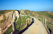La Coupee narrow track between Little Sark and Sark, Island of Sark, Channel Islands, Great Britain