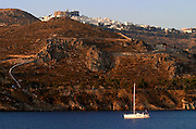 Chora with St. John's Monastery seen from aboard the Sea Cloud.