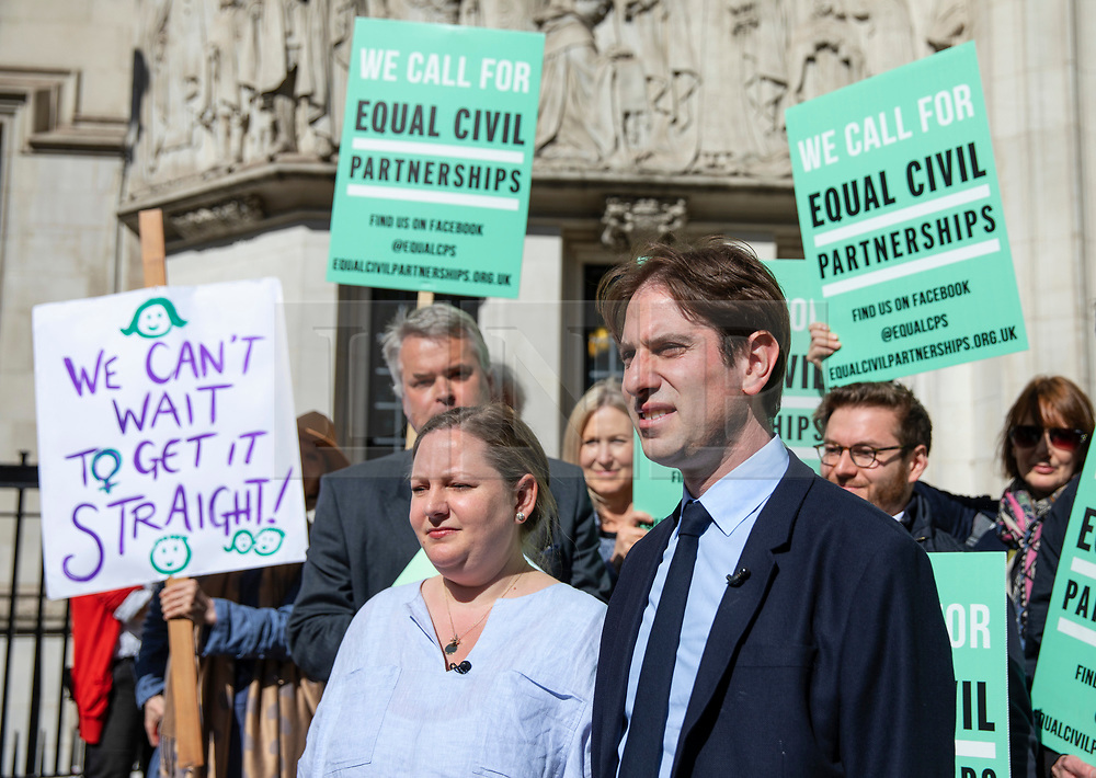 © Licensed to London News Pictures. 14/05/2018. London, UK. Rebecca Steinfeld (centre-left) and Charles Keidan (centre-right) arrive at the Supreme Court where they seek a change in the law that will allow heterosexual couples to enter into civil partnerships. Steinfeld and Keidan, who have 'deep-rooted' ideological objections to the institution of marriage, have previously lost their case at the High Court and the Court of Appeal. Photo credit: Rob Pinney/LNP