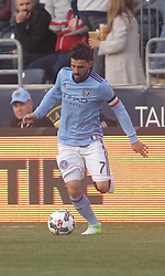 April 14, 2017 - Chester, PA, United States of America - New York City FC Attacker DAVID VILLA (7) dribbles down the field in the first half of a Major League Soccer match between the Philadelphia Union and New York City FC Friday, Apr. 17, 2016 at Talen Energy Stadium in Chester, PA. (Credit Image: © Saquan Stimpson via ZUMA Wire)