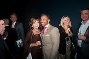 JOAN COLLINS; FAMEED KHALIQUE, The Lighthouse Gala auction in aid of the Terrence Higgins Trust. Christies. London. 19 March 2012.