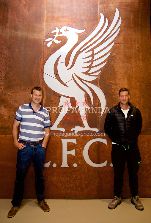 LIVERPOOL, ENGLAND - Sunday, June 18, 2017: Barry Cowan and Marcus Willis on a visit Anfield during Day Four of the Liverpool Hope University International Tennis Tournament 2017. (Pic by David Rawcliffe/Propaganda)