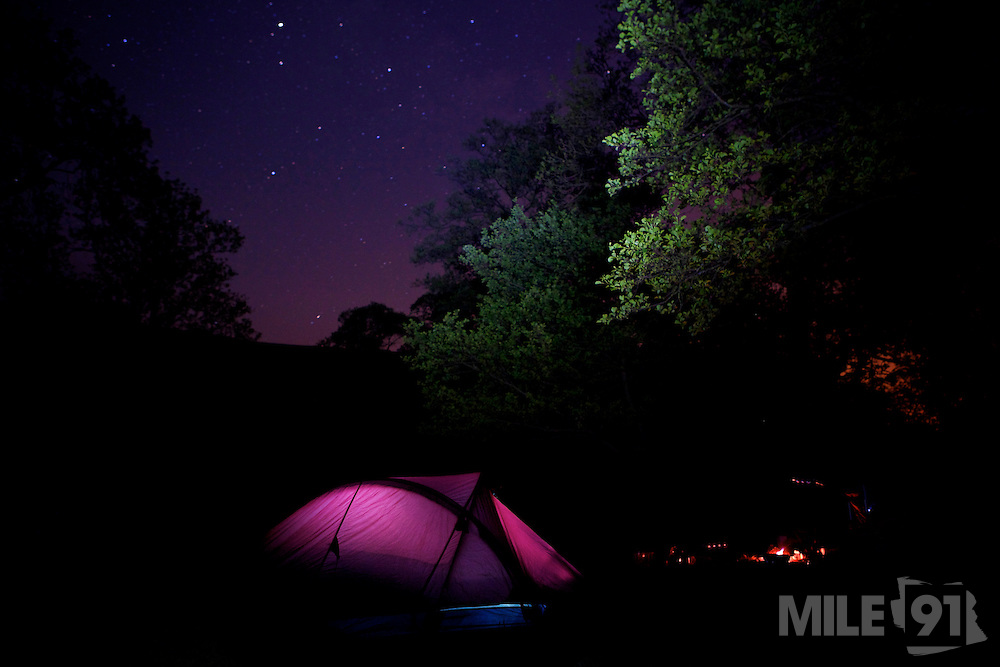 Our campsite underneath a beautifully clear starry night.