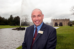 Andre Birckett Manager of Chatsworth Farm Shop stands in front of the Chatsworth House and the Emperor Fountain..10  May 2012.Image © Paul David Drabble